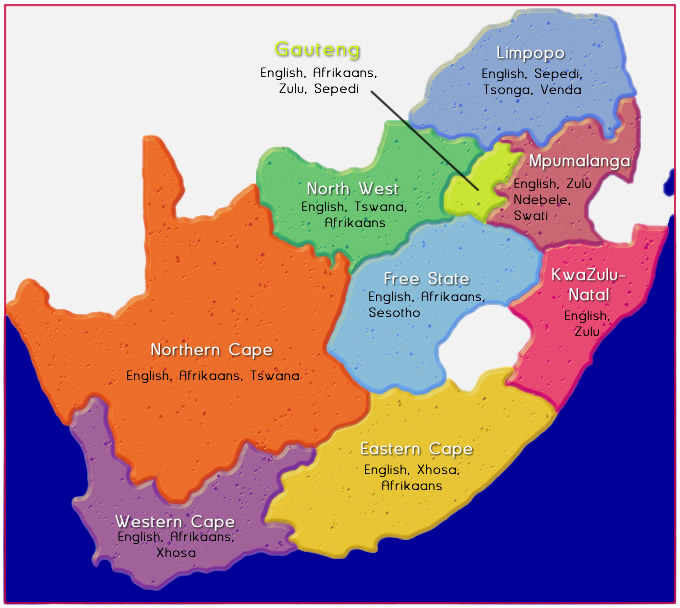 11 Official languages distribution in South Africa