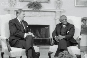 Ronald Reagan with Bishop Desmond Tutu