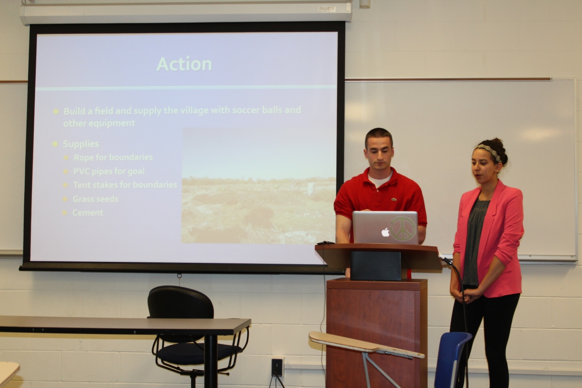 Bobby and Jazmin present their soccer field service project.