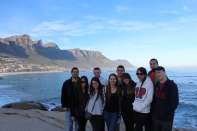 Class on Cape Peninsula Tour overlooking Clifton Back (L to R): Peter, Vinny, Ryan, Bobby Front (L to R): Larisa, Emily, Chrystal, Michelle, Jazmin, Evan