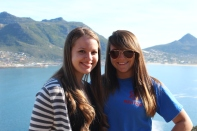 Chrystal & Michelle in front of Hout's Bay. Cape Peninsula Tour