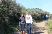 Larisa & Vinny hiking to Cape Point. Cape Peninsula Tour