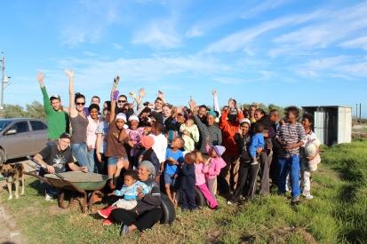 Quinnipiac students with Varkplaas community.