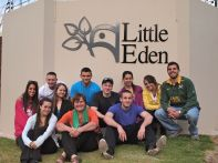 Group shot with Lucy Slaviero, CEO of Little Eden. Front (l to r): Emily, Lucy, Bobby Back (l to r): Larisa, Vinny, Chrystal, Ryan, Evan, Jazmin, Michelle, Peter