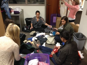 Kristyn, Adriana, Lauren, Libby, & Alison organizing donations.