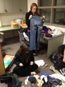 Aubrie & Isabelle organizing donations.