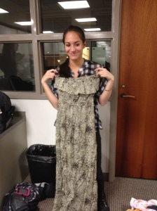 Adriana showing off one of the donations that will hopefully find a new home in South Africa.