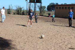 Peter, Libby, & Jenna playing soccer with the students at the Vaatjie Primary School during a break.