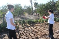 Tamarin talking to Jenna about Vaatjie Primary Schhol Garden.