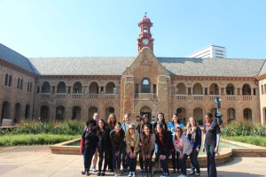 Quinnipiac University students visiting the University of Pretoria.