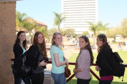 Jenna, Isabelle, Alison, Adriana, & Mel at student center at the University of Pretoria.