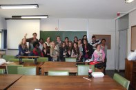 Quinnipiac University & University of Pretoria students group shot- Doing the Bobcat Roar.