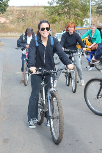 Lacey preparing for the bicycle tour of Soweto.