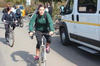 Libby getting ready for the bicycle tour of Soweto.