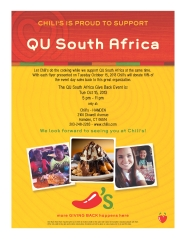 Come enjoy a night at Chili's with your friends on Tuesday, Oct. 15th from 5-11 pm! 10% of the proceeds will benefit QU South Africa! :)