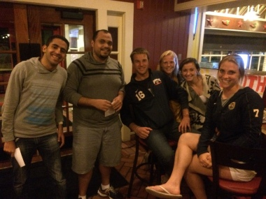 Prof. Gallay's QU301 students Ibrahim & Taha came out to support the QU South Africa students- Erik, Kat, Jillian, & Taylor